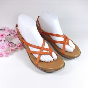 Born Womens Orange Strappy Wedge Sandals Size 8